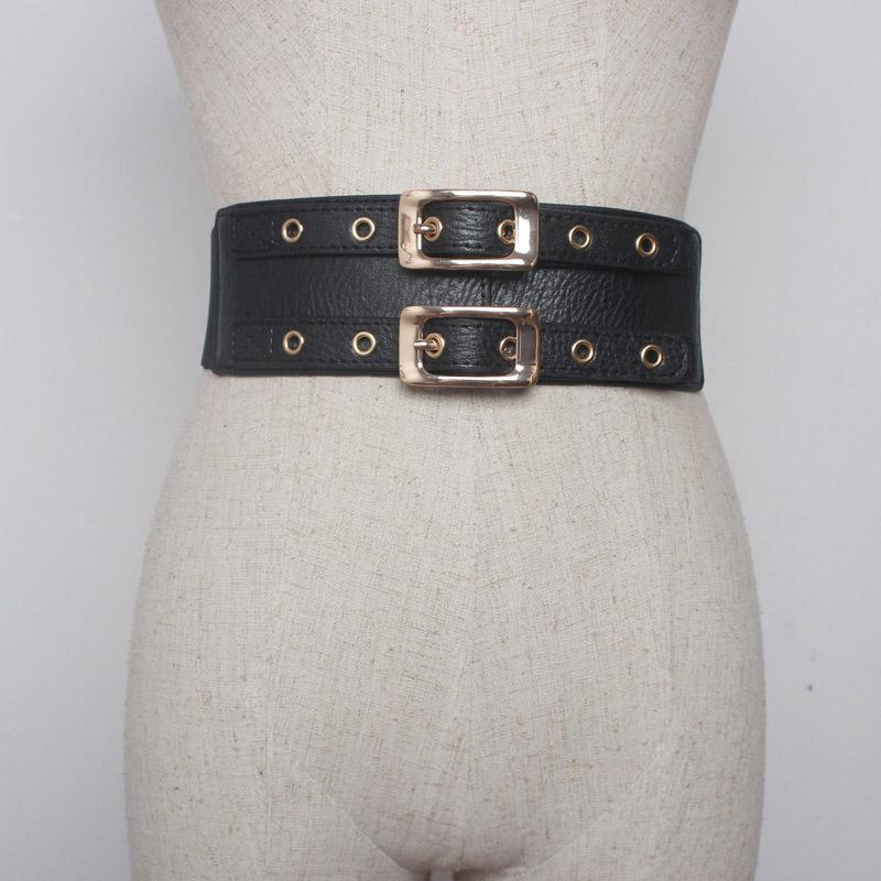 Cuoio cinghie delle donne Cintura larga a doppio petto elastico Stretch cinturino Abito Down Coat accessori modo della decorazione