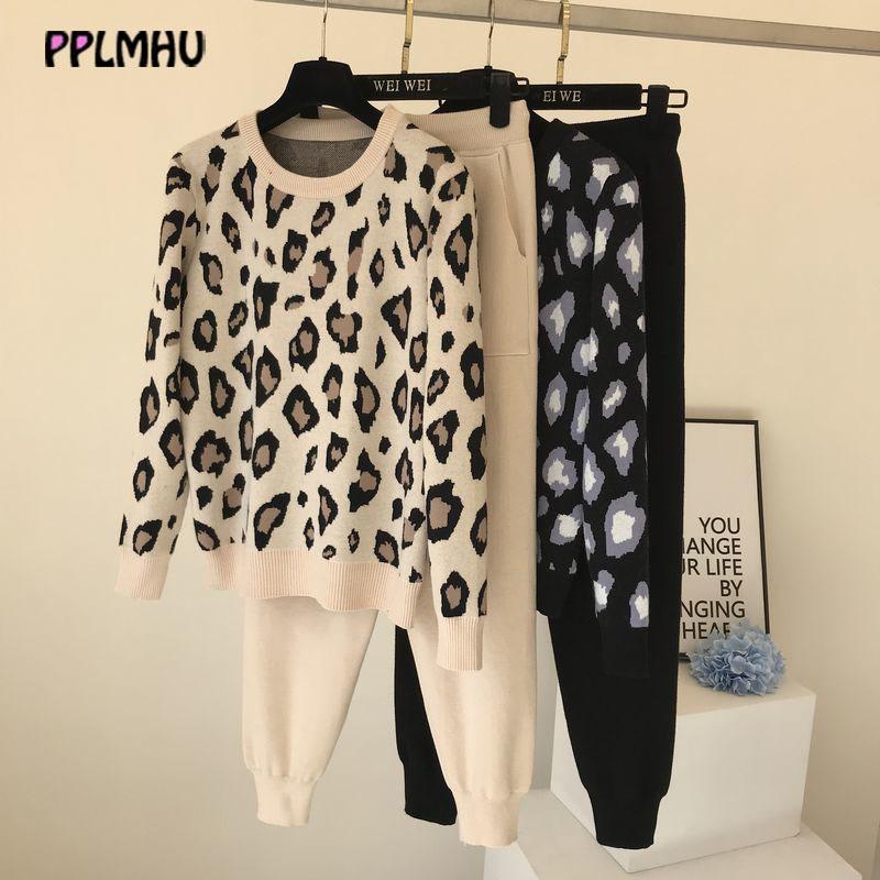 Leopard druckt gestrickte zwei stück anzug frauen mode streamwear casual tops und hosen herbst winter lose pullover outfit 201120