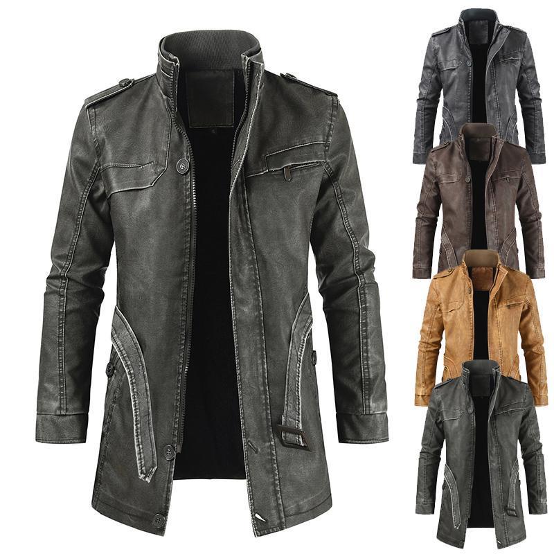 Мужские меховые искусственные мужские пальто осень зима прибытие 2021 стенд воротник средней длины кожаная куртка