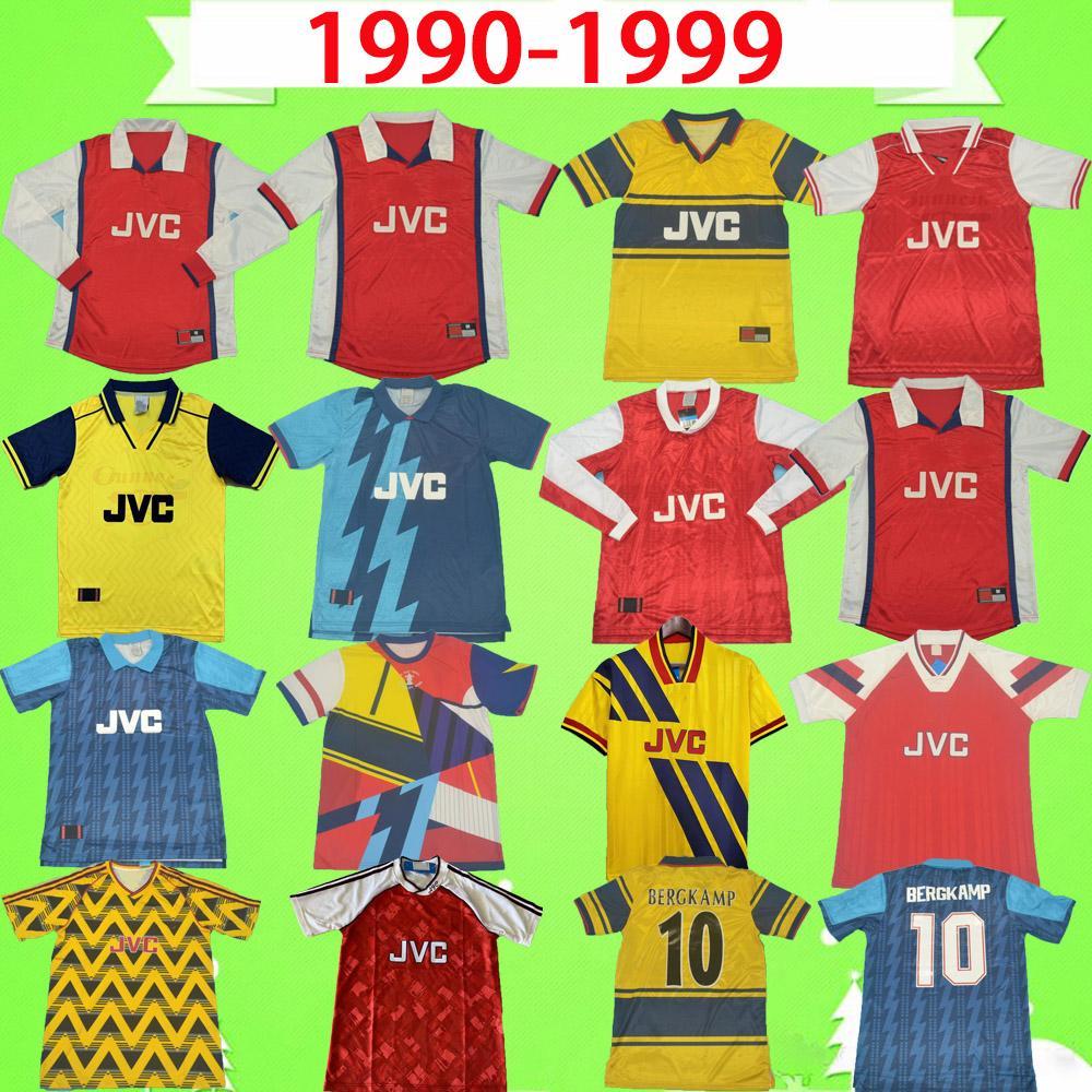Arsenal Jersey ALL 1990-1999 RETRO calcio maglia 90-99 rosso blu giallo camicia classica annata di calcio di qualità Bergkamp HENRY WRIGHT PLATT VIERA MERSON thai