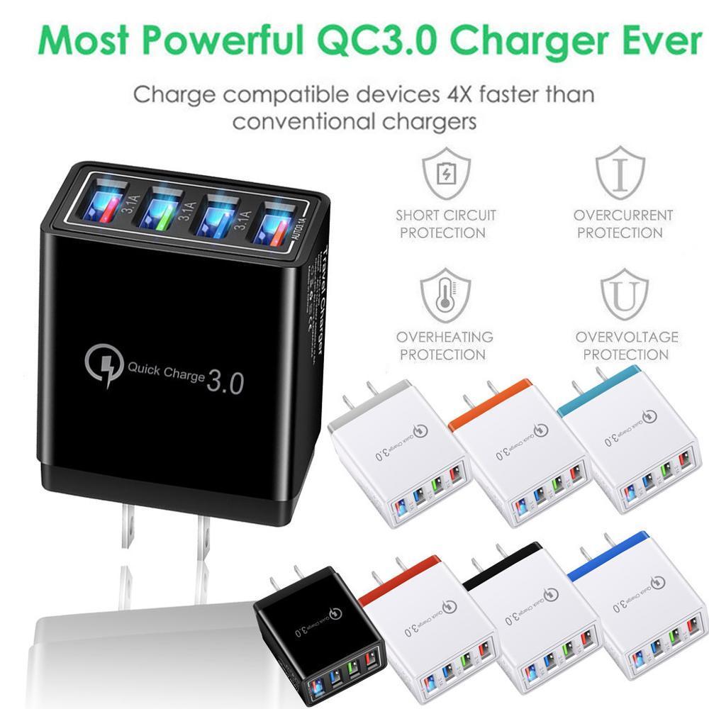 Novo 4 Porto Rápido Carga Rápida QC 3.0 USB Hub Carregador de Parede 3.5A Adaptador de Energia UE / EUA Plug Telefone de Viagem Carregadores de Bateria para iPhone 11 12
