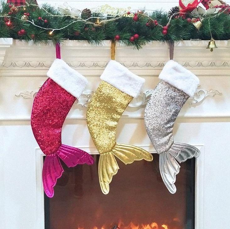 Paillettes Mermaid Tail Calze regalo di Natale dei bambini Candy Bag dell'albero di Natale del partito della casa Decor Large Size regali di natale Bag poki #