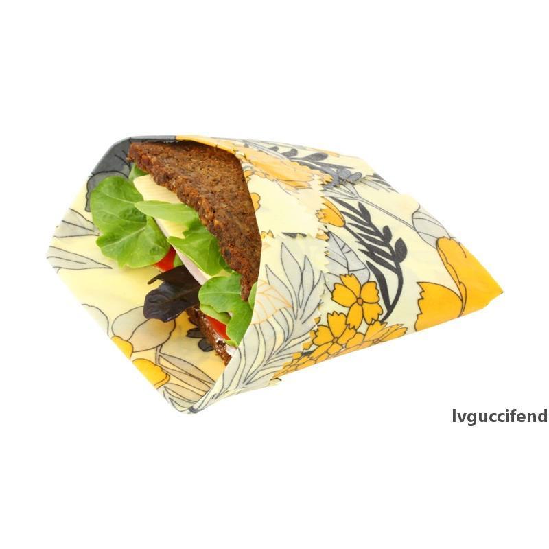 4 unids beeswax envolver orgánico lavable cero residuos de almacenamiento sostenible para sándwich, queso, fruta alternativa a bolsas de plástico