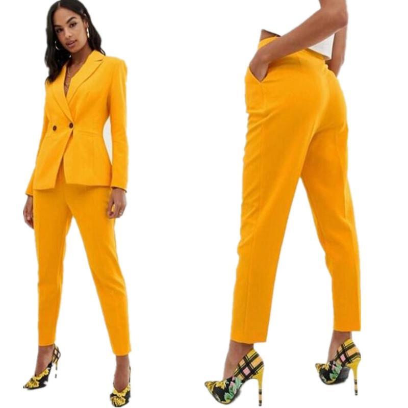 Neue 2021 gelbe Frauen passt Notch Revers Hose Anzüge für Frauen plus Größe Damen Pantsuit Blazer + Hosen für Arbeitspanzer für Hochzeitsfeier