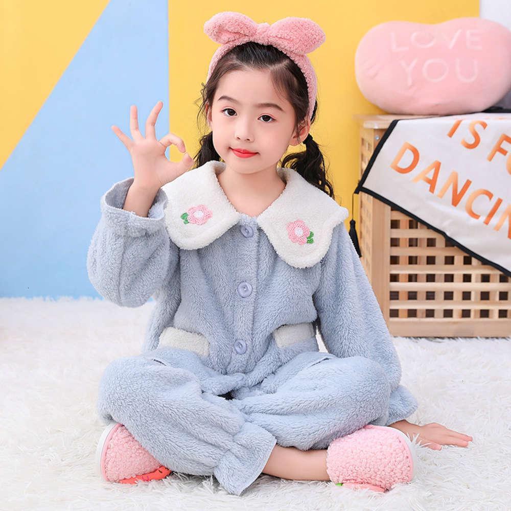 2020 детская пижама зимняя осень и новая утолщенная теплая фланелевая девочка родительский ребенок домой коралловый ват