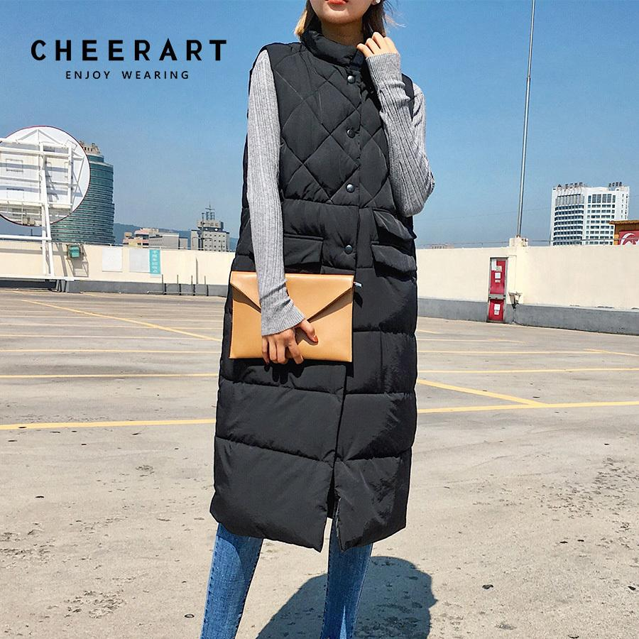 CheerArt Uzun Yelek Kış Ceket Kadın Kolsuz Aşağı Ceket Ince Kadın Kapitone Ceket Femme Korece Yelek Colete 201031