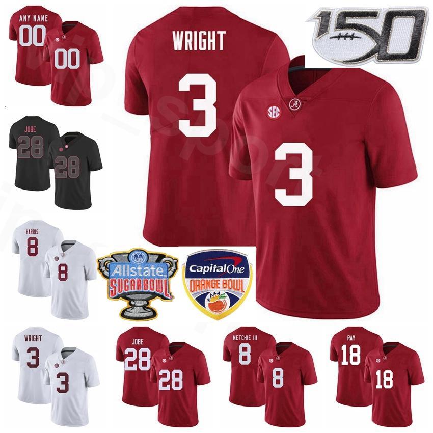 NCAA College Football Alabama Crimson Tide 28 Джош Джоб Джерси 3 Даниэль Райт 8 Кристиан Харрис 18 LaBryan Ray 8 John Metchie III