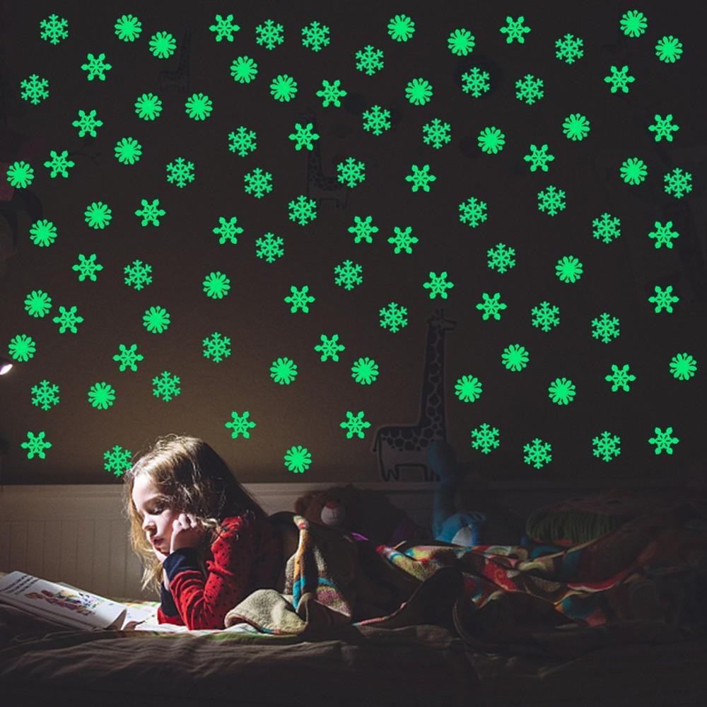جديد مضيئة ندفة الثلج 3D الجدار ملصق يتوهج في الظلام عيد الميلاد ندفة الثلج على السنة الجديدة عيد الميلاد الرئيسية الأطفال غرفة جدار ديكور