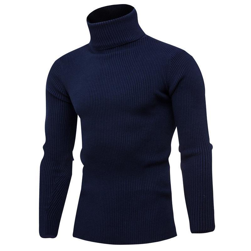 Мужские свитеры 2021 осенью и зима повседневная высокая шеи вязаный свитер / сплошной цвет с длинным рукавом. Пуловер