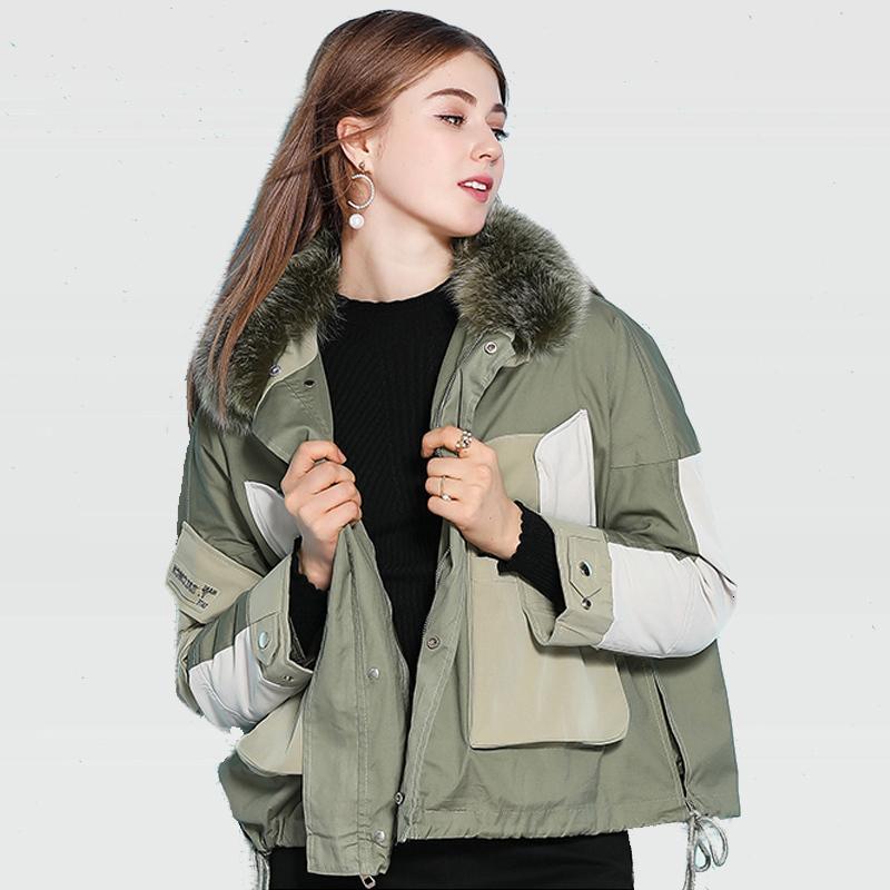 Съемное новое поступление вкладыши утка вниз пальто женская зимняя короткая куртка из натурального природного воротника из натуральной лисы