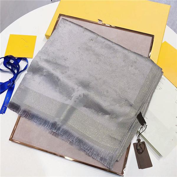 Donne di modo quattro stagioni autunno inverno inverno sottile sciarpa di lana di seta lunga 180 * 70cm sciarpa scialle classico filo filettatura in oro