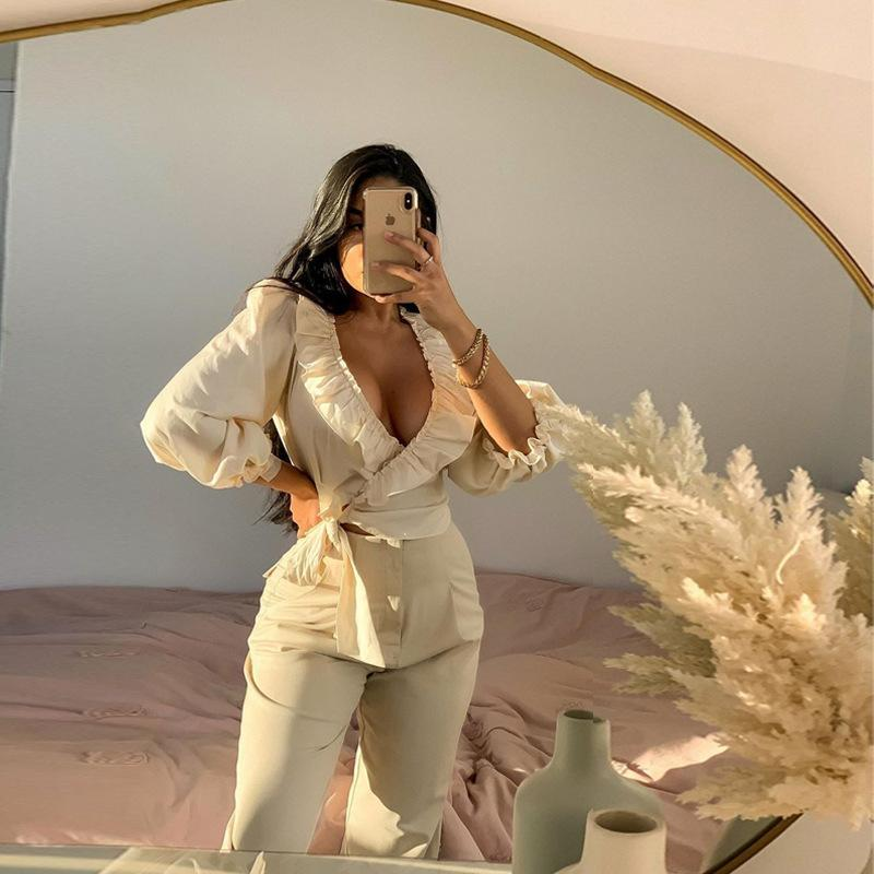 Blusas de mujer Camisas Cardigan Sexy Wrap Blusa Top Elegant Otoño 2021 Linterna Manga Cultivo Ruffles Blusas Chic Women