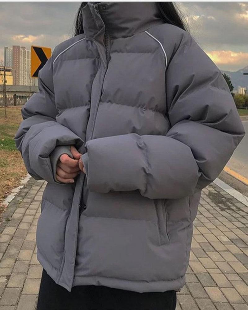 여성용 파카 스 벨라자 2021 따뜻한 두꺼운 면화 패딩 자켓 여성 고딕 겨울 한국어 패션 코트 그레이 캐주얼 느슨한 착용