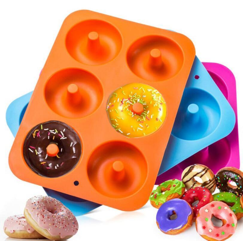 5 couleurs Silicone Donut moule de cuisson à pâtisserie antiadhésif pâtisserie pâte chocolat gâteau DIY DIY Décoration Outils Bagels Muffins Donuts Moules