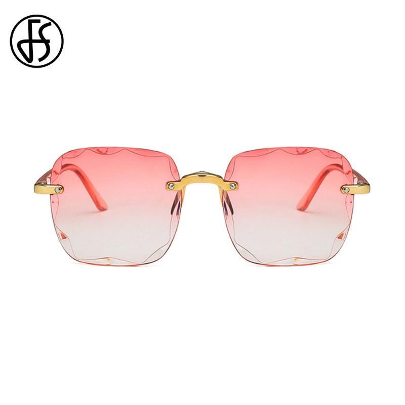 Taglio FS 2020 Vintage oversize senza montatura degli occhiali da sole delle donne di modo di disegno di pendenza sexy Occhiali da sole