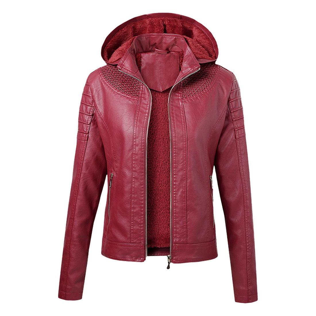 LASPERAL Women Leather Thermal Jacket Plus Velvet Detachable Hooded High-quality New Autumn Winter Women's Jacket 201016