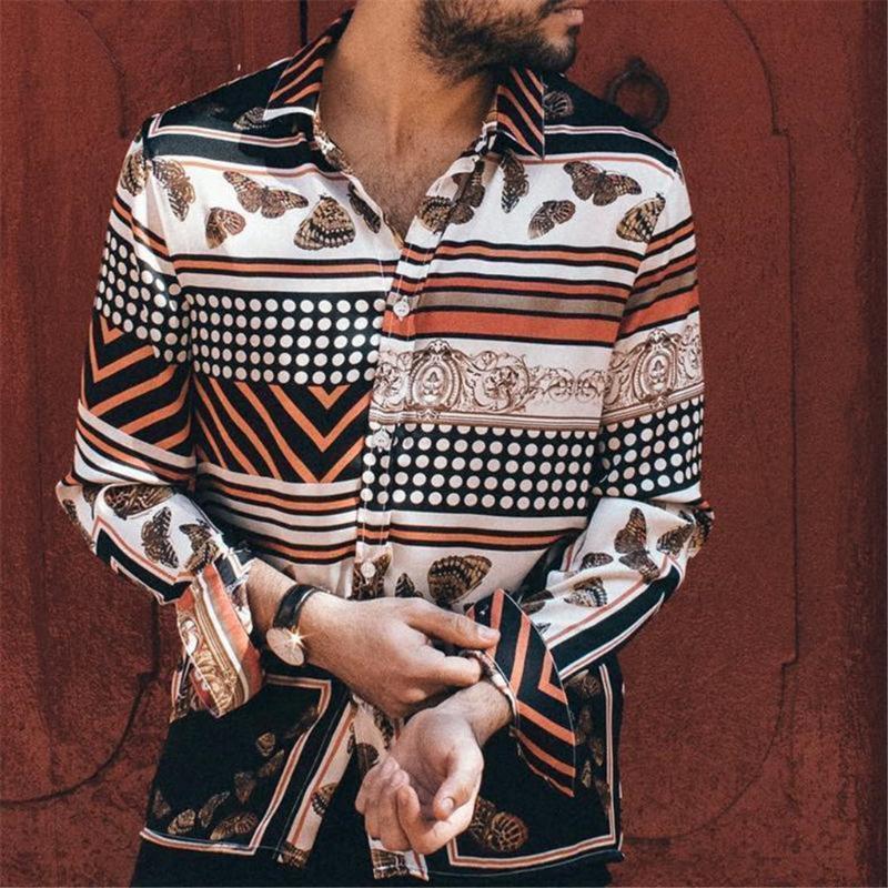 Herren-Hemd-Bluse Top Langarm-Tupfen-gestreifte beiläufige Druck beiläufige Dame Vintage-Mode-Hemd Männer Camisa masculina
