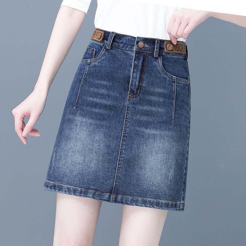 Denim Femmes 2021 Printemps et été Nouvelle taille haute Slim Anti Light A-Line Sac Hip Large Jupe courte V1