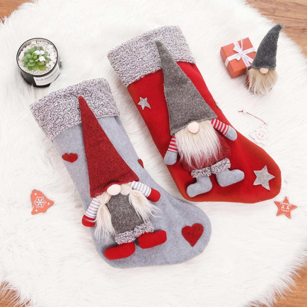 I titolari di Natale calze con 3D svedese Gnome bambola Xmas Tree ciondolo appeso Camino ornamenti Decorazioni di festa Gifts w-00431