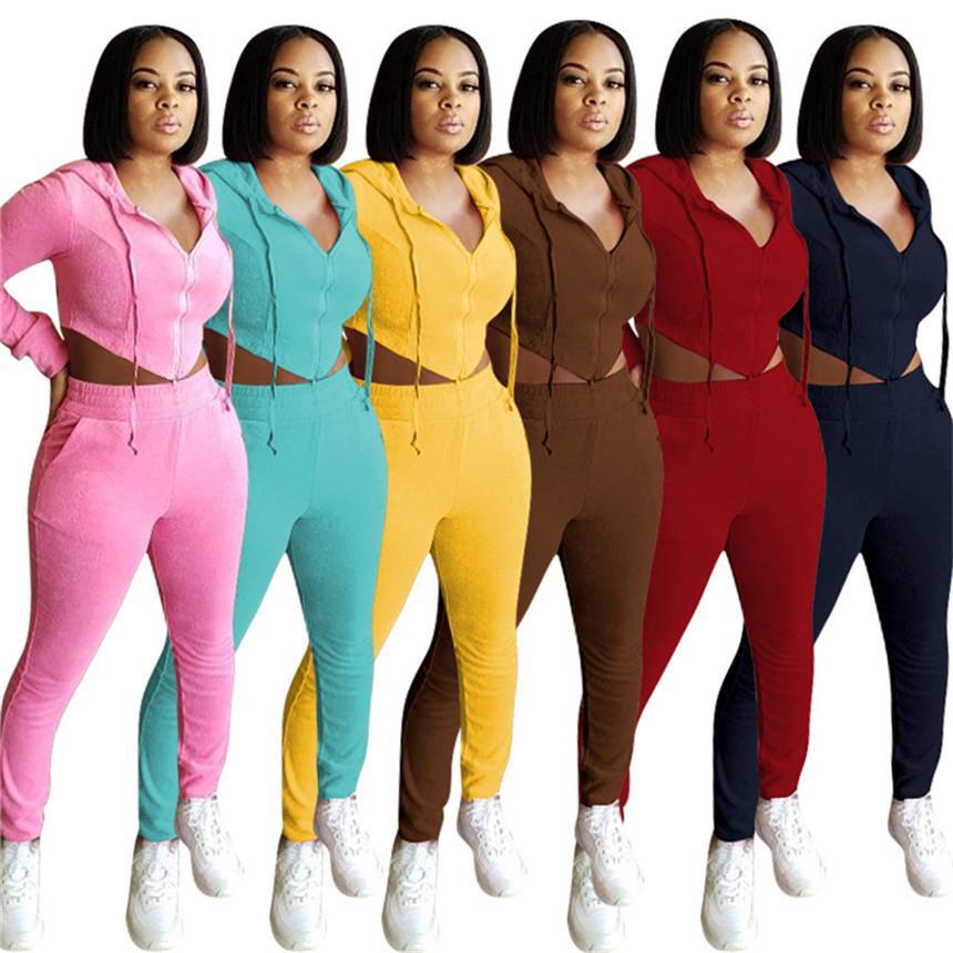 Le donne di colore solido Tuta sexy 2 pezzi top crop manica lunga + leggings sport vestito jogger felpe in pile vestito autunno inverno 4110 delle attrezzature