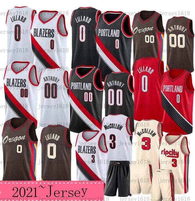 2021.ПортлендСлед блейзеровCarmelo 00 Anthony Баскетбол Джерси Mens Mens Damian 0 Lillard CJ 3 Mccollum Rip City Рубашка