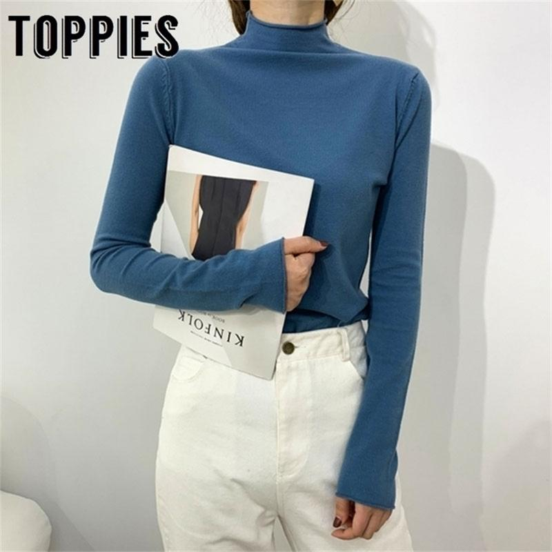Turtleneck Pullover свитер зимний вязаный свитер женщин с длинным рукавом перемычки женские базовые топы конфеты цвет 201221
