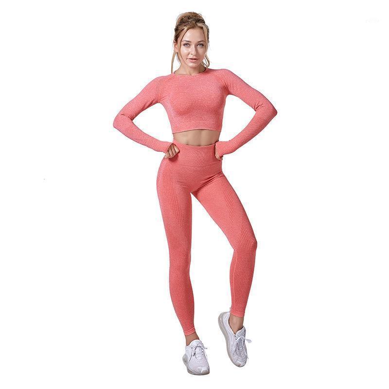 Frauen nahtlose Yoga Kleidung Set Kurzarm Fitness Sportanzüge Langarm Top High Taille Leggings Sportanzüge Hot New1