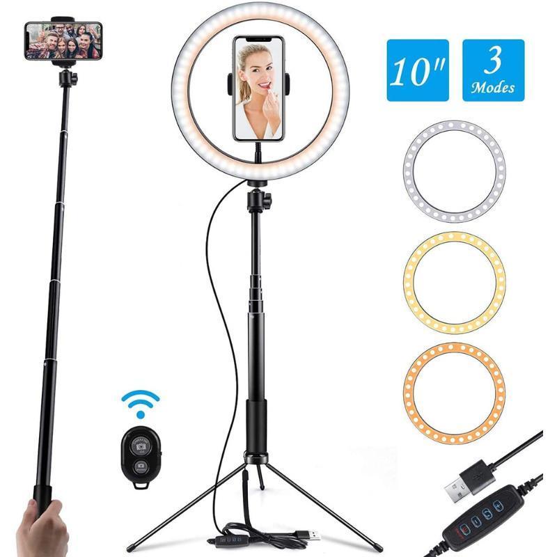 10inch /26cm LED Photography Ring Light Camera Ringlight Tripod Stand Phone Holder For YouTube Video Photo Studio Lamp Kit