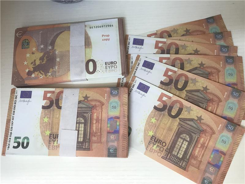 2021 Cross-Bordure Selling Moderne Moderne Euro 50 Papier Copier BankNote PROP ARGENT EURO 100PCS / PACK 08