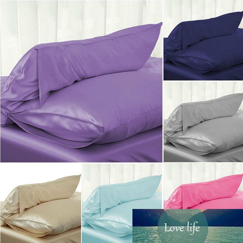 Caja de almohada de satén de seda sólida sólida seda