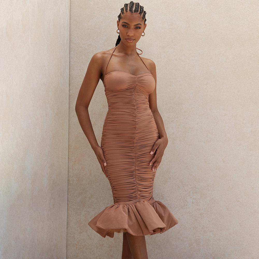 2020 Новое лето Женщины Хаки рукавов Русалка платье Sexy Холтер Ruffles клуб Celebrity Runway вечер платье партии Платье