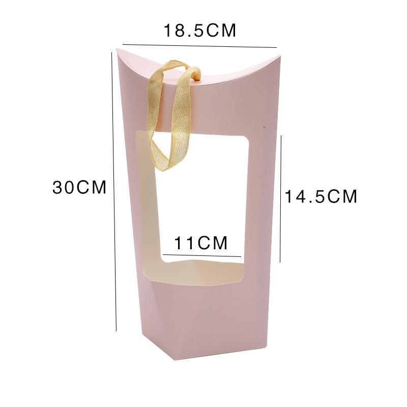 휴대용 크래프트 종이 가방 꽃 장미 상자 핸들 방수 꽃다발 꽃집 선물 포장 상자 파티 선물 빈 상자 GWA4667