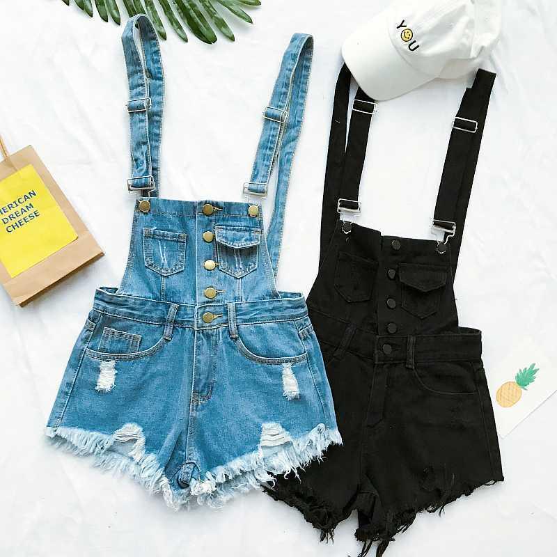 Nova Coleção Verão Coreano Loxo Mulheres Denim Jumpsuit High-cintura Rasgado Buraco Ondulado Borda Jumpsuit Calça Jeans Motorais1