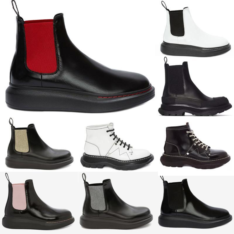 alexander mcqueen mcqueens mc queen mqueen  Chunky Profilsohlen Sohle Wellenförmige übergroße Gummi Runde Tehe Black Platform Calf Leder Pull-On Ankle Boots Schuhe