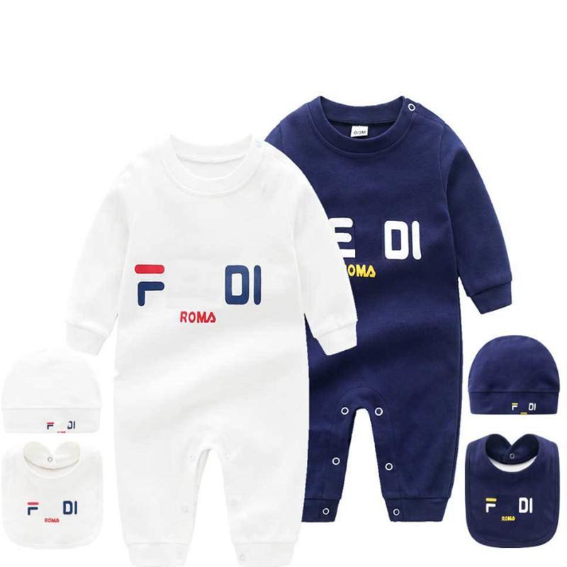 2020 Infant 3 Pz Set cappello Bib Tuta Bambini Bambini Designer Vestiti Ragazze Ragazzi Brand Lettera Vestiti Neonato Baby Pagliaccetti Designer Designer Vestiti