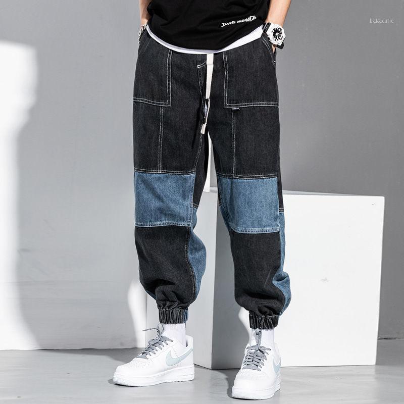 Kot erkek Hip Hop Renk Eşleştirme Kargo Pantolon Gevşek Batpirenli Harem Pantolon Güz erkek Patchwork Siyah Kot Büyük Boy Denim1