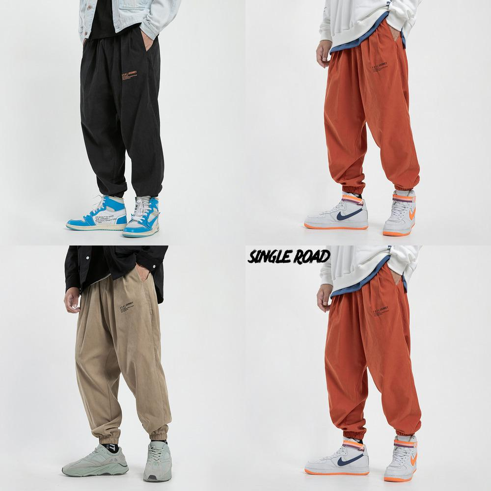 Singleroad Hombre Harem Harem Pantalones Hombres 2020 Naranja Frío Sensación Hip Hop Streetwear Japonés Sweetpants Pantalones Joggers Q1219