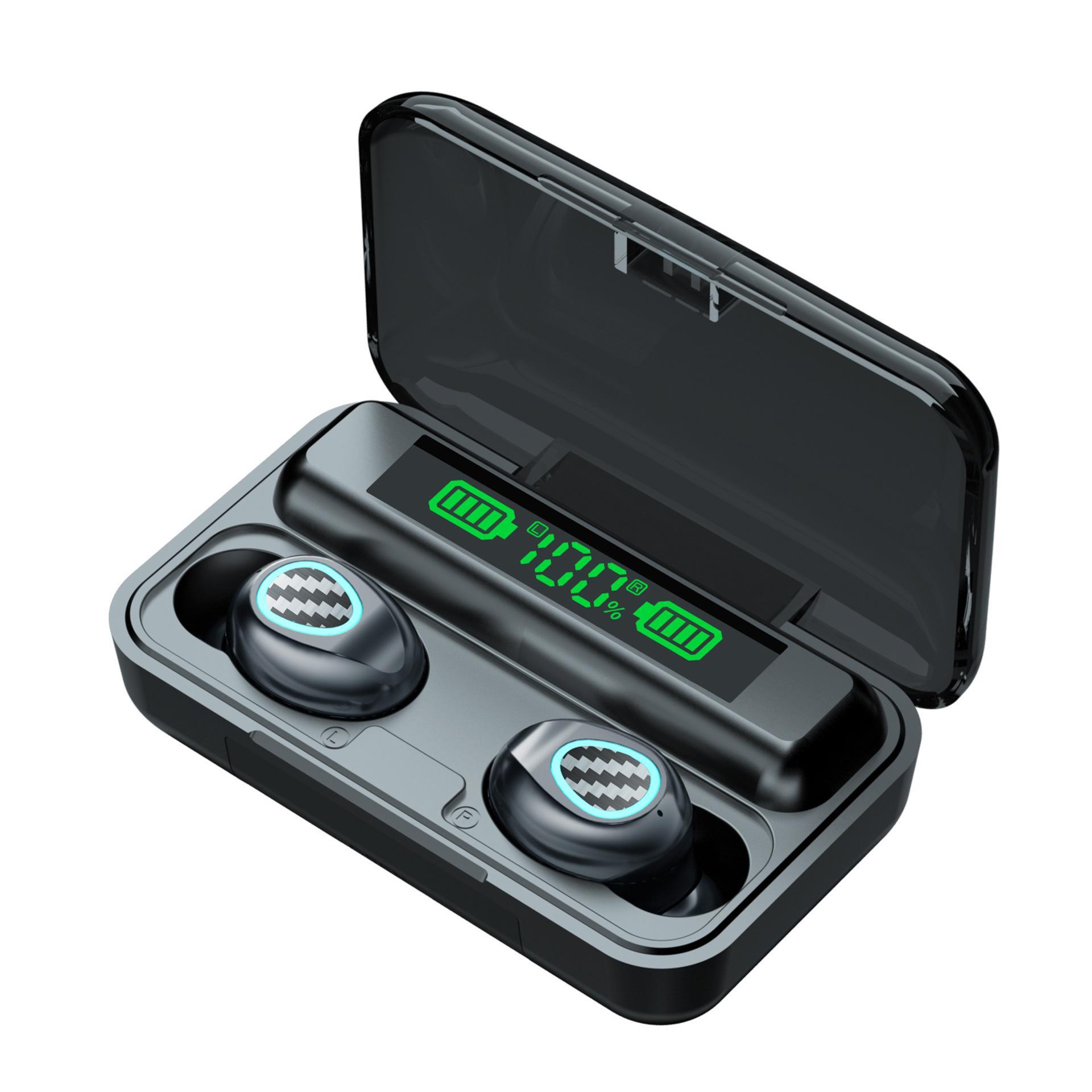 R6 Kablosuz Spor Bluetooth Kulaklık V5.1 Sürüm Mini Dokunmatik TWS Iş Kulaklık ile LED Güç Dijital Ekran