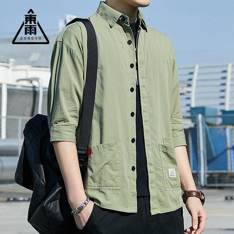 Mens Vintage Elbow Sleeve Tooling Trend Shirt Cotton Loose Men's Shirts 2020 Summer New 7nxp#