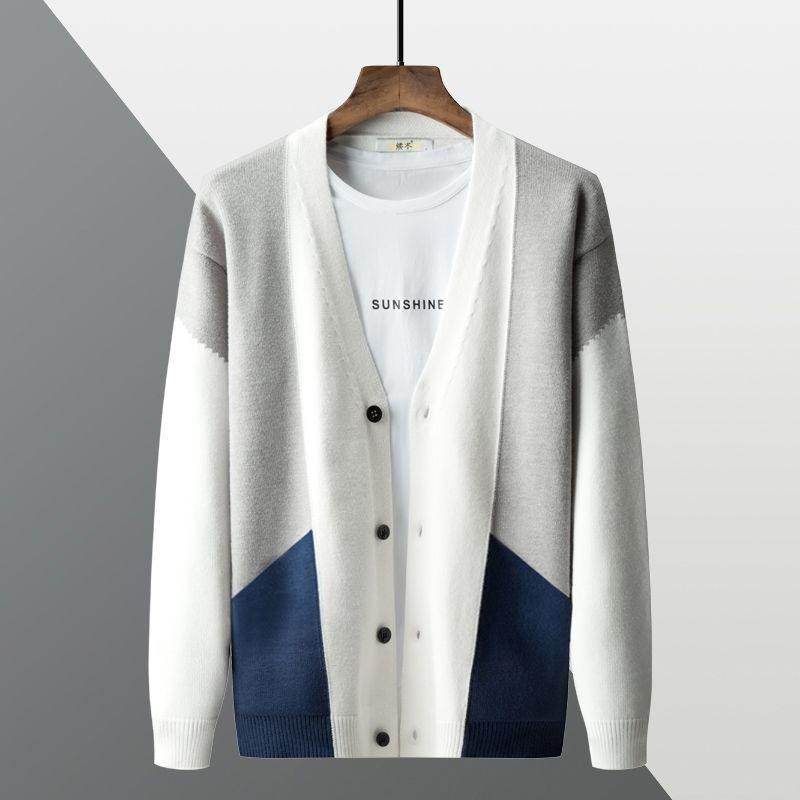 Мужские свитера осенью и зимой 2021 трикотажный свитер кардиган контрастный цвет шить тонкий японский пальто
