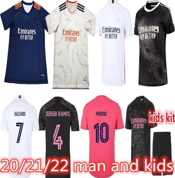 Camiseta Real Madrid Jerseys 2021 Fussball Jersey Madrid Hazard Sergio Ramos Benzem Maillot de Foot Camiseta de Fútbol 20 21 Fußball-Hemd
