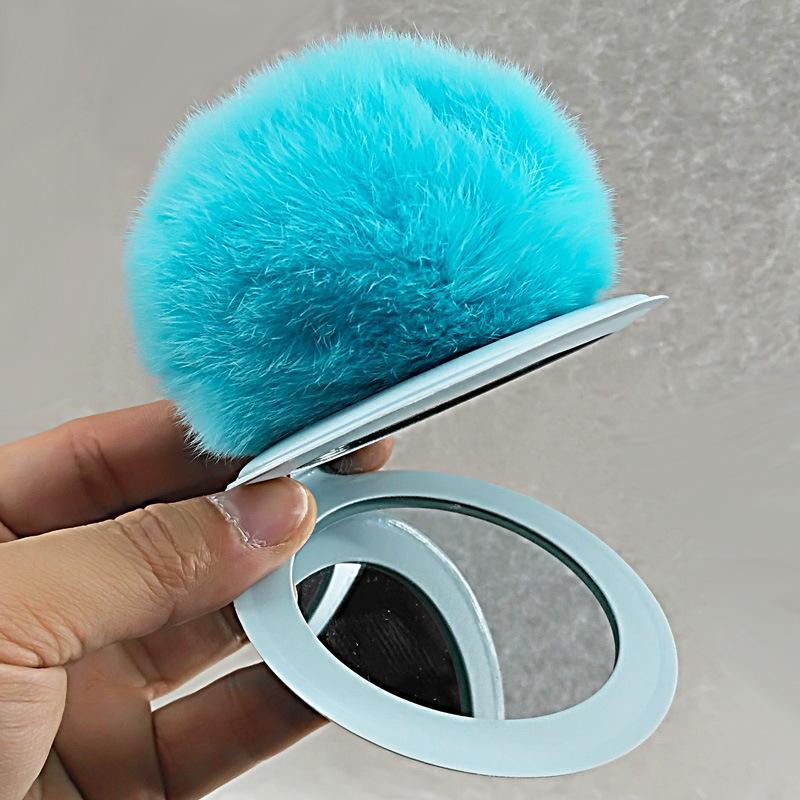 Novelty Plush Fur Ball Keychain Puff Mirror Keychains Car Bag Key Chain Christmas Party Favor 16styles HHA3413
