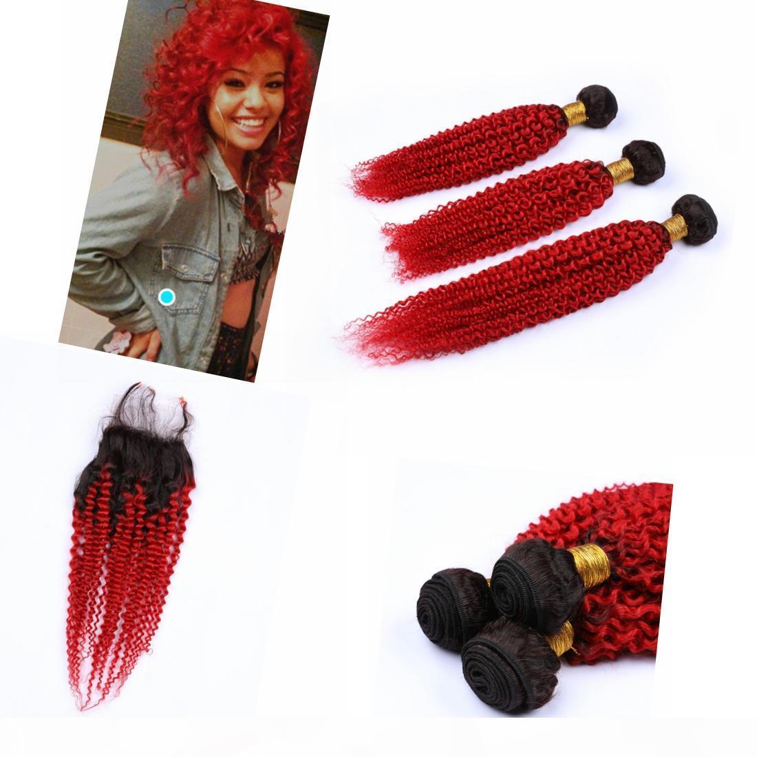 """Омбре девственницы бразильские пакеты волос с закрытием 4 """"* 4"""" темный корнек kinky ukyly # 1b #ed complate ombre и связки"""