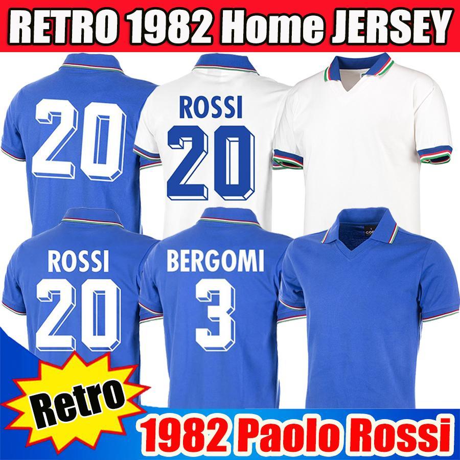 قمصان كرة القدم Retro 1982 إيطاليا كأس العالم باولو روسي 2020 قمصان كرة القدم الرجعية 82 83 1994 1996 1998 2006 Maglie da calcio BERGOMI Pirlo TOTTI قمصان كرة القدم