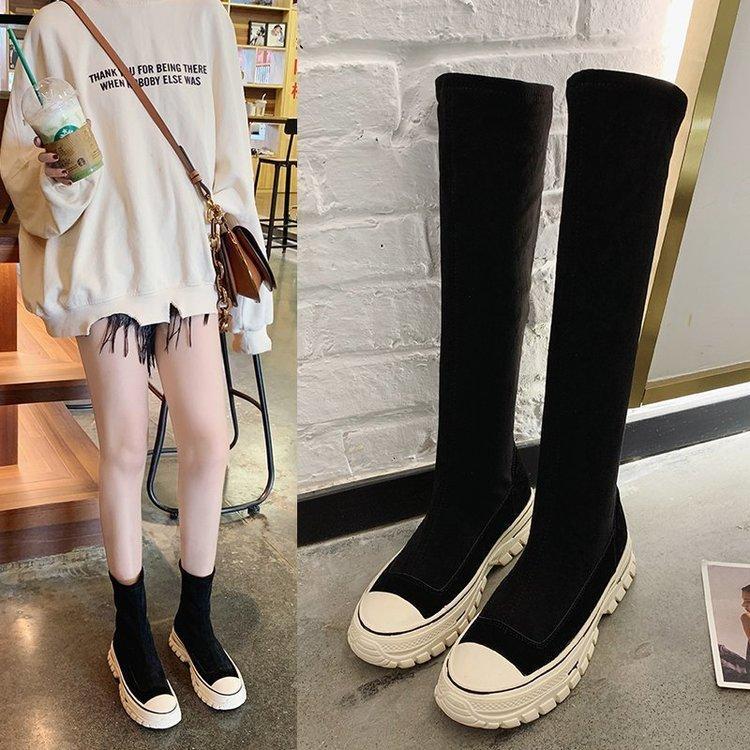 Frauen Stiefel 2020 Herbst-Stretch-Stiefel Kurz Sneakers lange starke Plattform Slip-on Frauen Botas Mujer