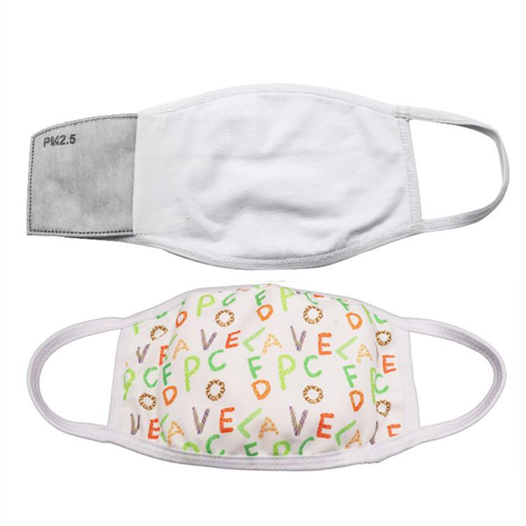 Sublimación Blanks EN STOCK Face Mask adultos de los niños con filtro de bolsillo puede poner PM2.5 Junta de Polvo Prevención para la transferencia de bricolaje Imprimir