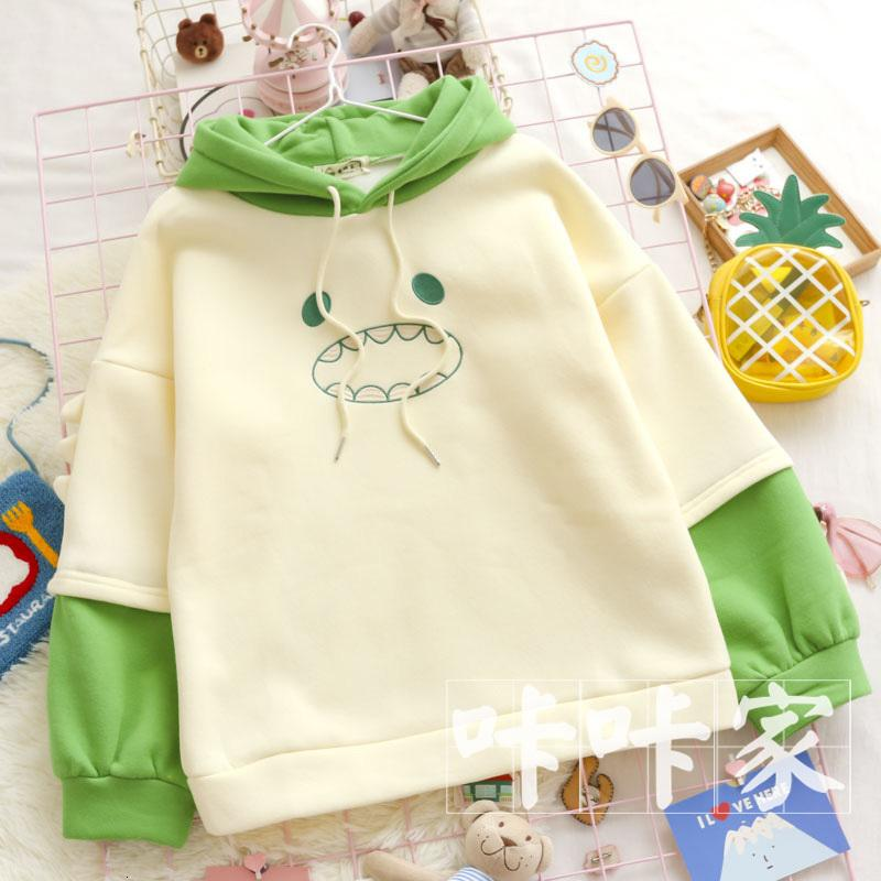 Automne hiver kawaii broderie dinosaure pull swooms pull harajuku style mori fille patchwork occasionnel sweat-shirt hauts cadeau