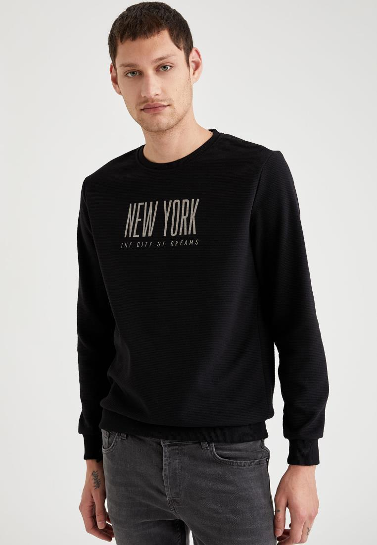 Defacto Winter Hombre de punto Personalizado Cuello Impreso Impreso Slim Fit Sweatshirt Supporty Look Dailywear de manga larga Cálida Casual Nueva Temporada-S1954A Y0104