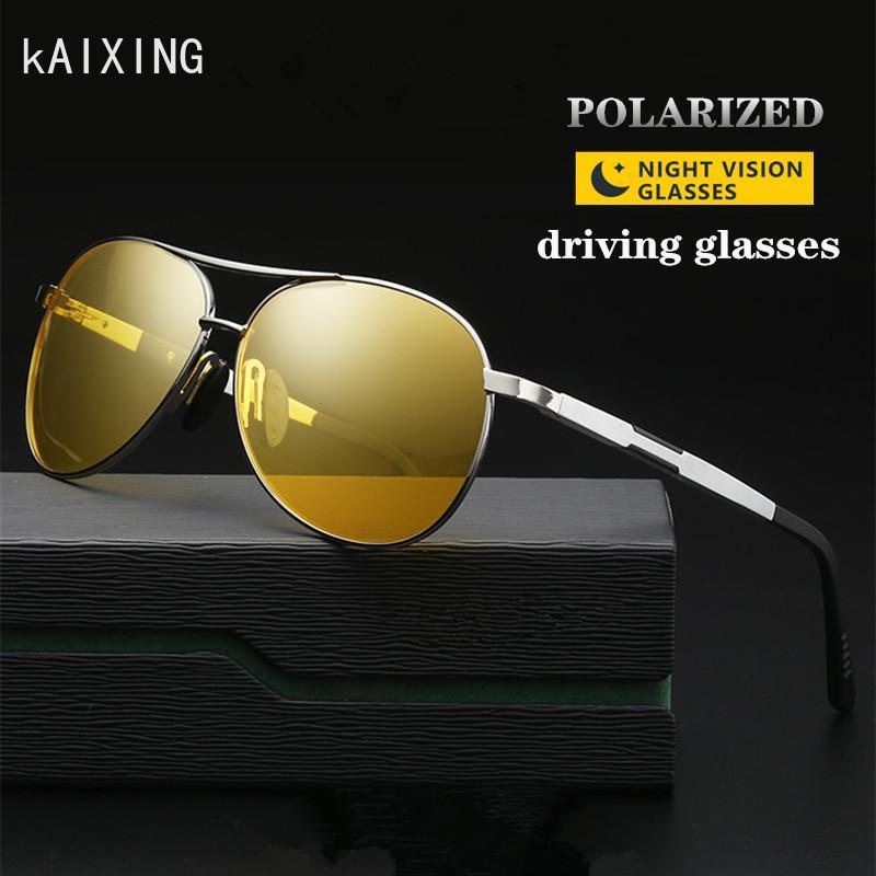 Men Polarized Yellow Night Driving Anti-glare Aluminum Women Vintage Aviation KAIXING Vision Glasses Eyewear Shade Sunglasses Vammk
