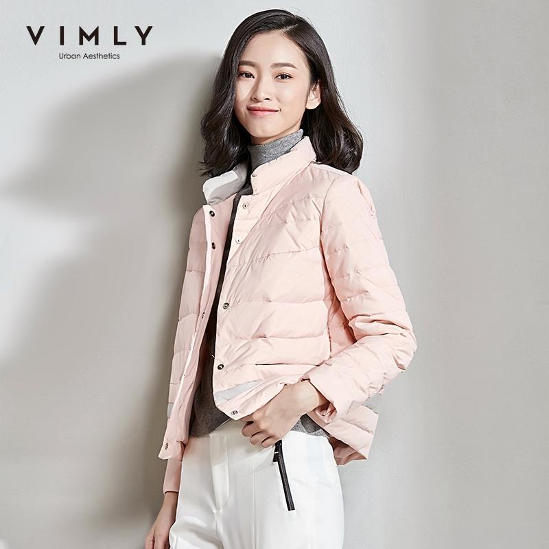 Vimly invierno 90% pato blanco abajo chaqueta corta para las mujeres elegante collar de soporte sólido manga larga botón femenino abrigo 5095 y201026